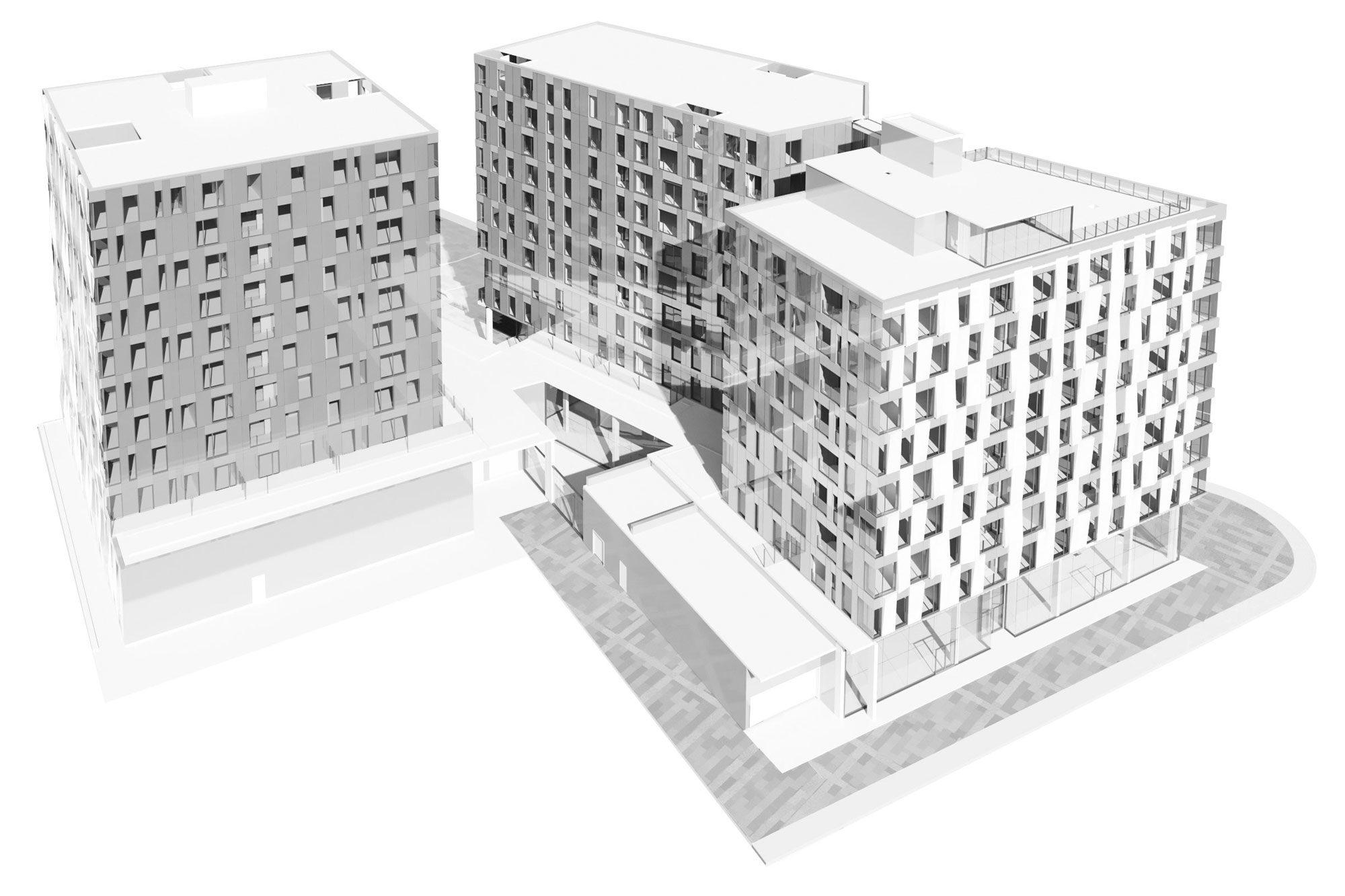 Perspective du projet présentant les trois bâtiments